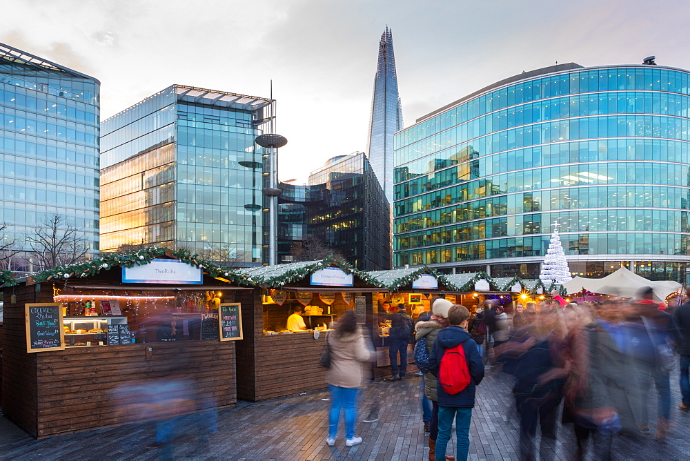 Christmas Market, The Scoop and The Shard, South Bank, London, England, United Kingdom, Europe