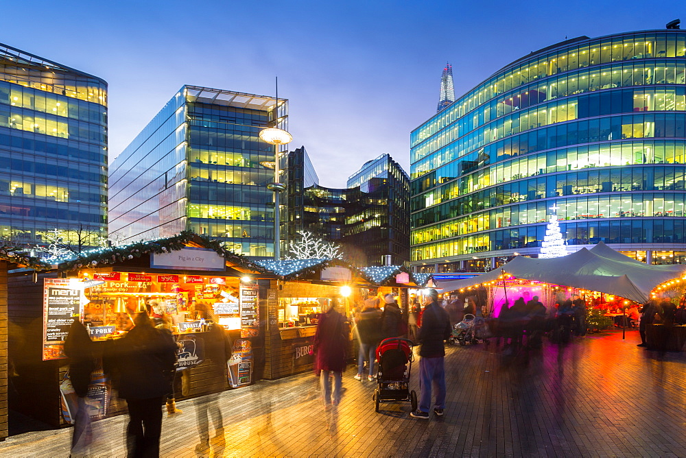 Christmas Market, The Scoop and the top of The Shard, South Bank, London, England, United Kingdom, Europe