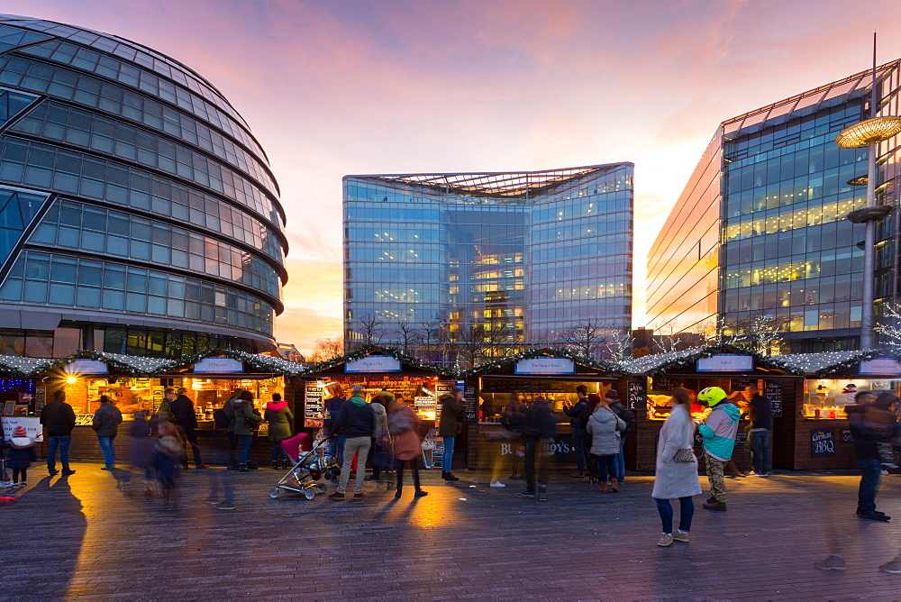 Christmas Market, The Scoop and City Hall, South Bank, London, England, United Kingdom, Europe