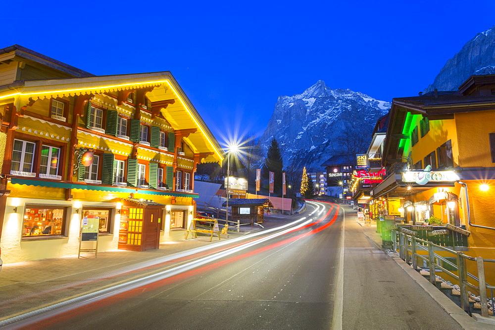 Dorfstrasse and Wetterhorn, Grindelwald village, Jungfrau region, Bernese Oberland, Swiss Alps, Switzerland, Europe