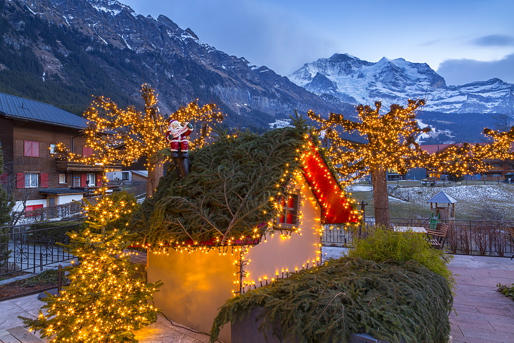 Christmas lights near Dorfstrasse in Wengen, Jungfrau region, Bernese Oberland, Swiss Alps, Switzerland, Europe