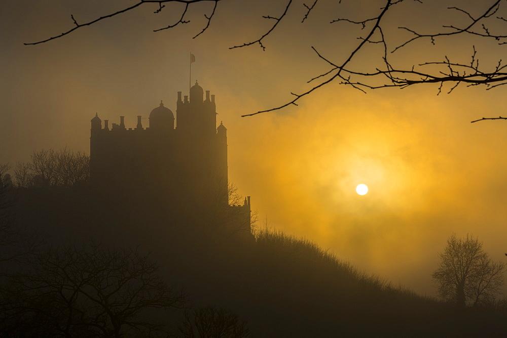 Bolsover Castle sunset, Bolsover, North Derbyshire, England, United Kingdom, Europe