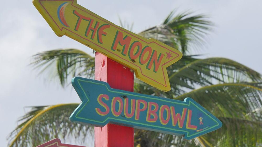 Signpost on Bathsheba Beach, St Joseph, Barbados, West Indies, Caribbean - 844-10945