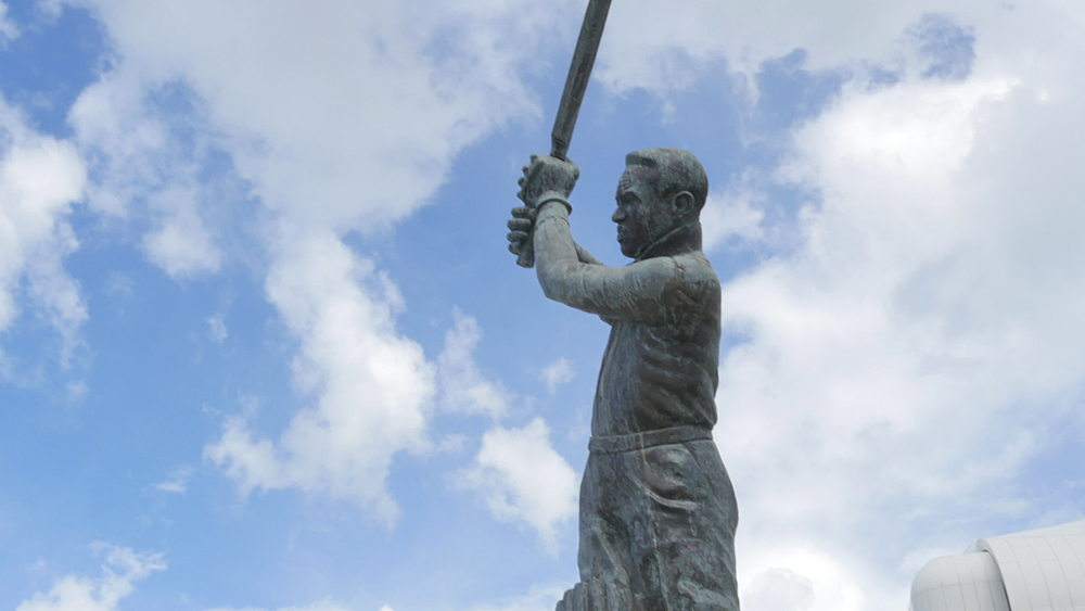 Statue of Garfield Sobers at the Kensington Oval Cricket Ground, St Michael, Barbados, West Indies, Caribbean - 844-11112