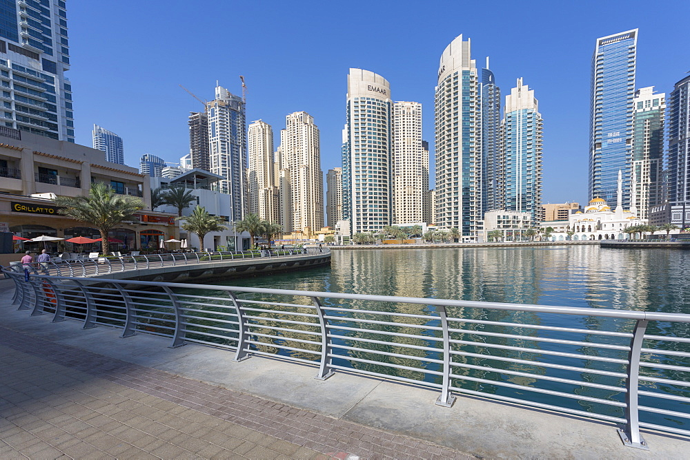 View of tall buildings in Dubai Marina, Dubai, United Arab Emirates, Middle East