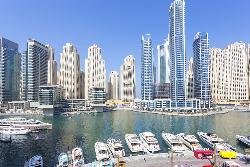 View of boats moored up in Dubai Marina, Dubai, United Arab Emirates, Middle East