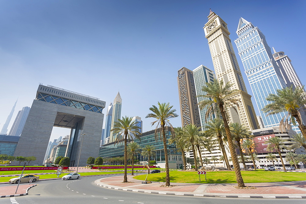 Maze Tower, Up Tower and Dubai Financial Centre in Downtown, Dubai, United Arab Emirates, Middle East