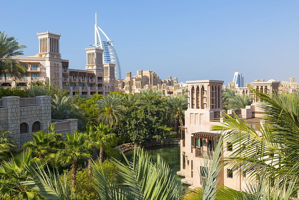 View of Burj Al Arab from Madinat Jumeirah, Dubai, United Arab Emirates, Middle East