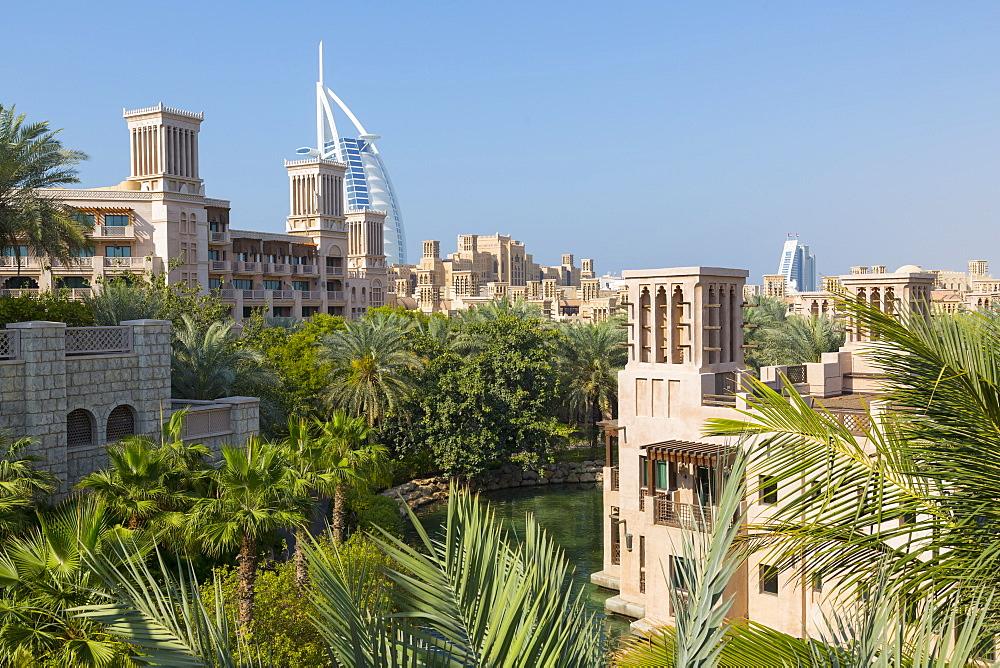View of Burj Al Arab from Madinat Jumeirah, Dubai, United Arab Emirates, Middle East - 844-11879