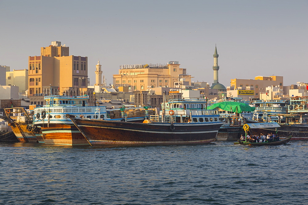 View of Deira District and boats on Dubai Creek, Bur Dubai, Dubai, United Arab Emirates, Middle East