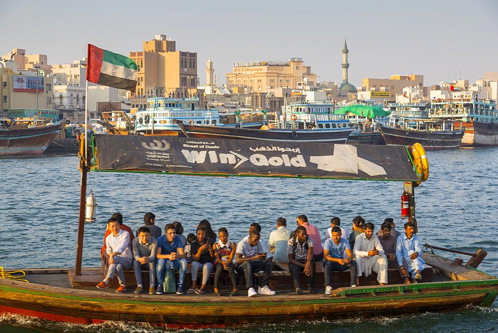 View of Deira District and boats on Dubai Creek, Bur Dubai, Dubai, United Arab Emirates, Middle East