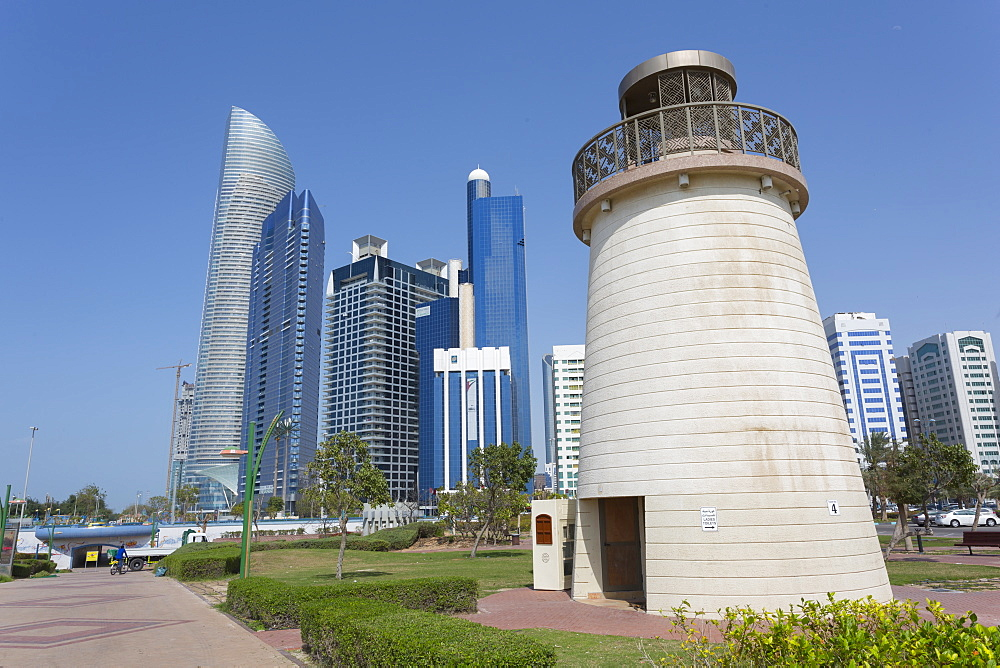 View of the Landmark Tower from the Family Park, Abu Dhabi, United Arab Emirates, Middle East