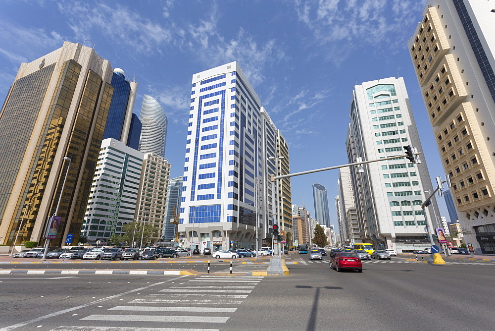 Road junction and tall buildings on Hamdan Bin Mohammed Street, Abu Dhabi, United Arab Emirates, Middle East