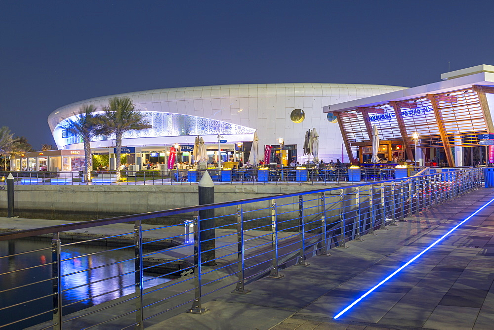 Bars in Yas Marina at dusk, Yas Island, Abu Dhabi, United Arab Emirates, Middle East