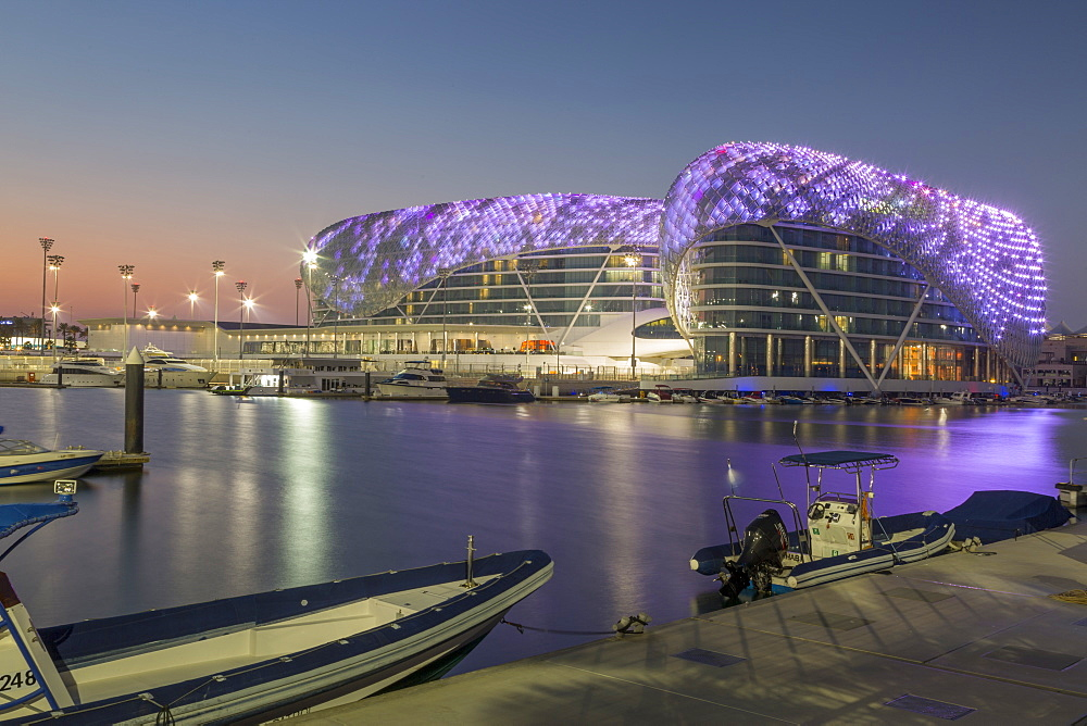 The Yas Viceroy Hotel and Yas Marina at dusk, Yas Island, Abu Dhabi, United Arab Emirates, Middle East