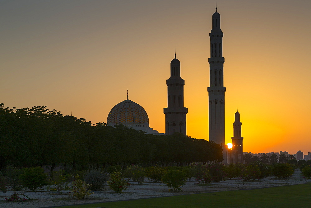 View of Sultan Qaboos Grand Mosque at sunset, Muscat, Oman Middle East, Asia