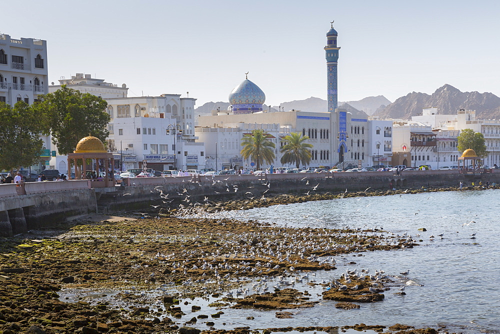 View of the Al Rasool Al Adham Mosque and Corniche at Muttrah, Muscat, Oman, Middle East, Asia