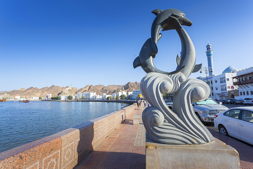 Evening view of a sculpture on the Corniche at Muttrah, Muscat, Oman, Middle East