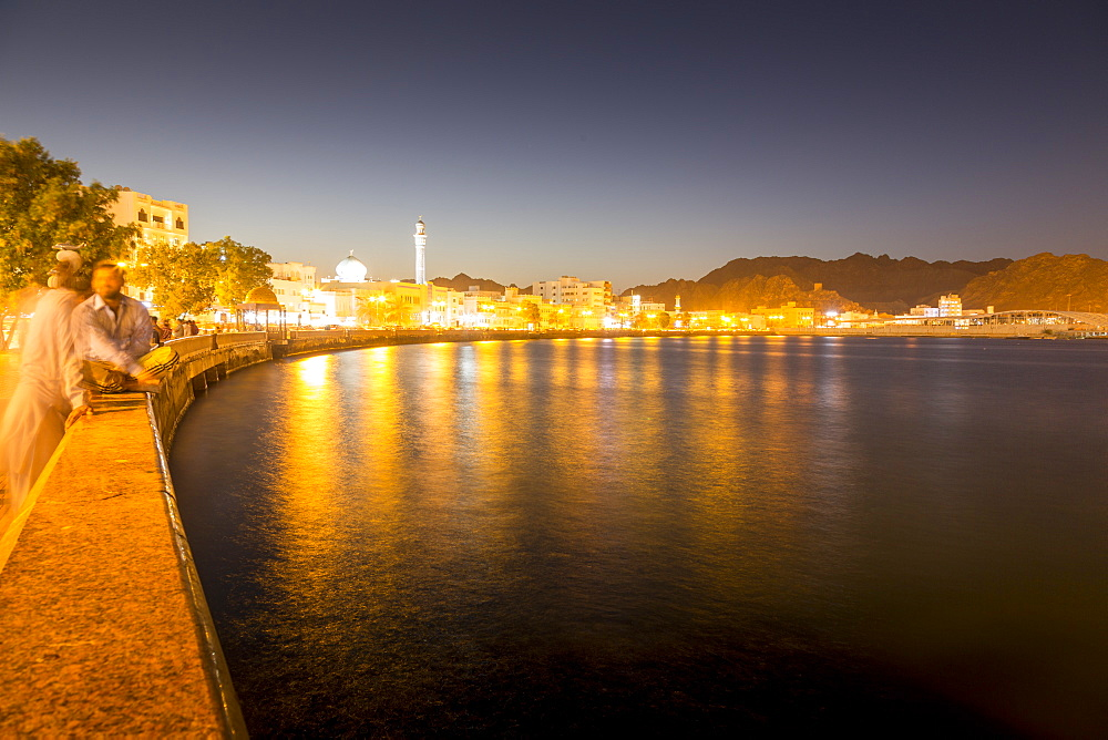 Dusk over the Al Rasool Al Adham Mosque and Corniche at Muttrah, Muscat, Oman, Middle East, Asia