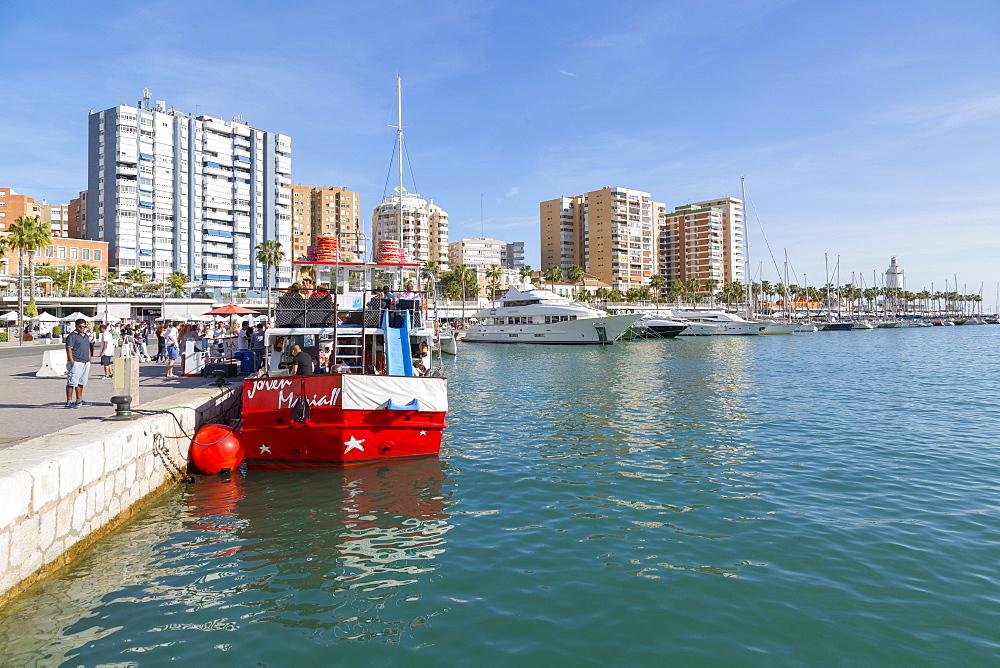 View over Malaga Marina, Malaga, Costa del Sol, Andalusia, Spain, Europe