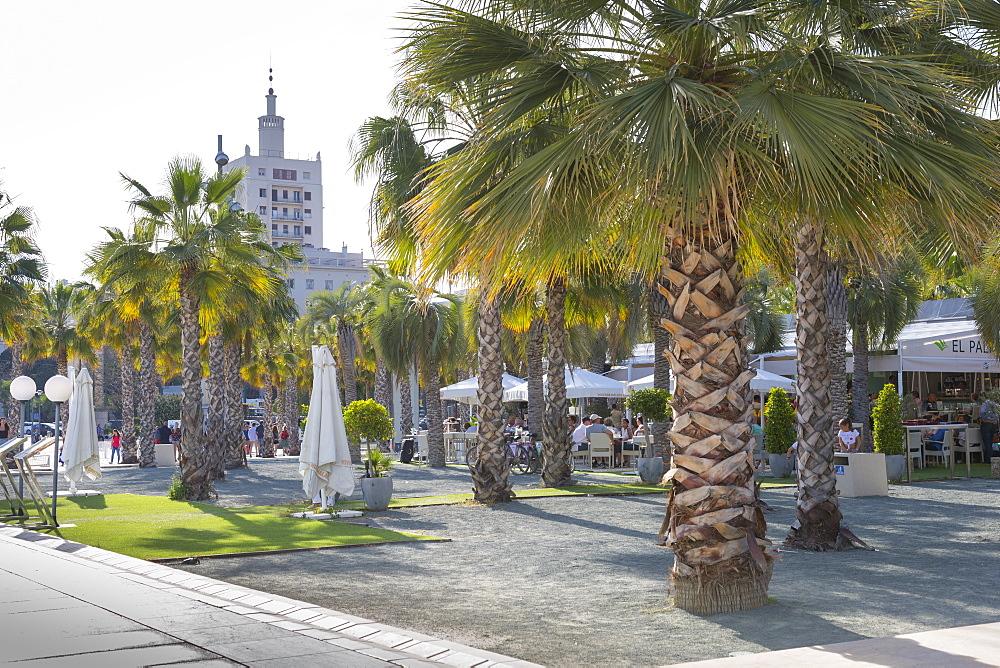 Restaurant on Paseo del Muelle Uno in Malaga Marina, Malaga, Costa del Sol, Andalusia, Spain, Europe