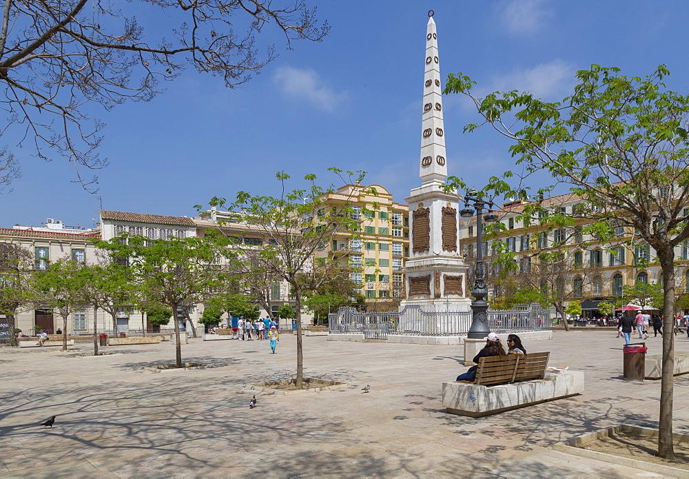 View of monument in Plaza de la Merced, Malaga, Costa del Sol, Andalusia, Spain, Europe