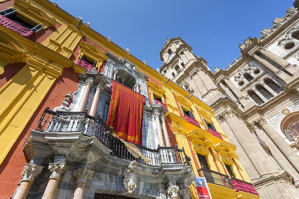 Malaga Cathedral on Plaza del Obispo, Malaga, Costa del Sol, Andalusia, Spain, Europe