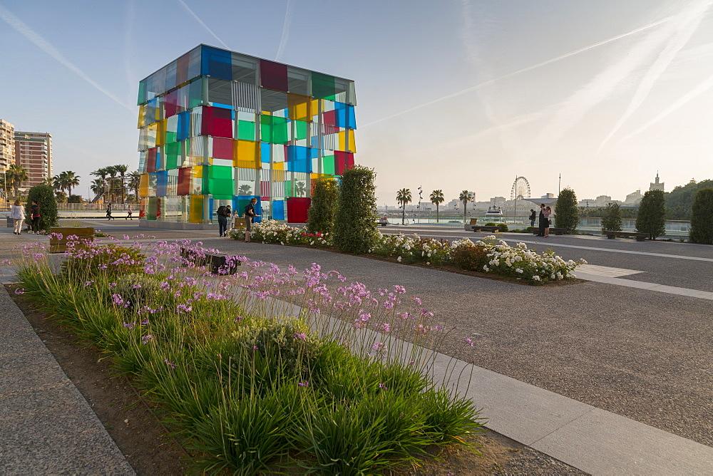 View of Centre Pompidou Malaga, Malaga, Costa del Sol, Andalusia, Spain, Europe