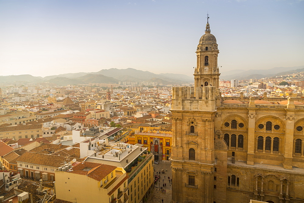Elevated view of Malaga Cathedral, Malaga, Costa del Sol, Andalusia, Spain, Europe