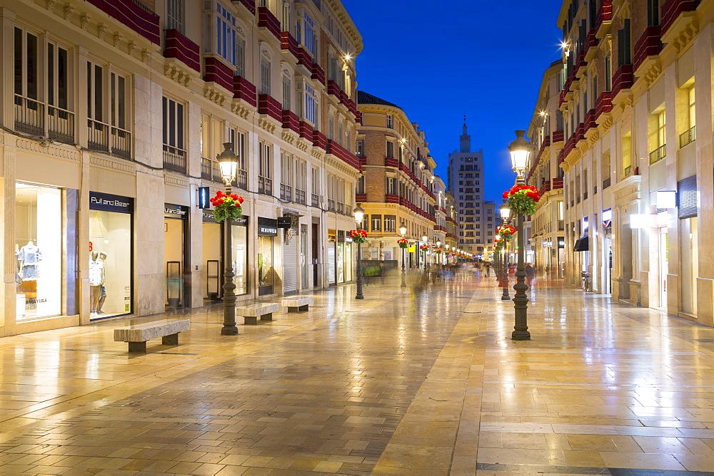 Calle Marques de Larios at dusk, Malaga, Costa del Sol, Andalusia, Spain, Europe