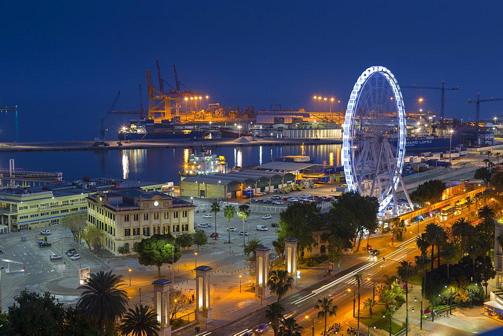 Elevated view of Malaga Marina and ferris wheel at dusk, Malaga, Costa del Sol, Andalusia, Spain, Europe