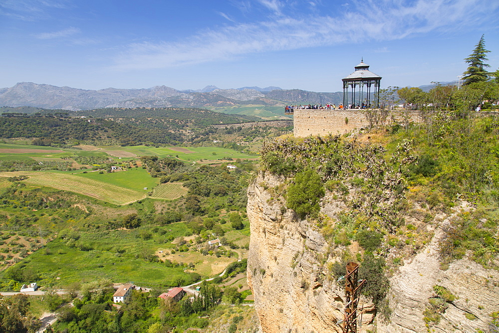 View of Andalusian countryside and Alameda Del Tajo, Ronda, Andelusia, Spain, Europe - 844-12735
