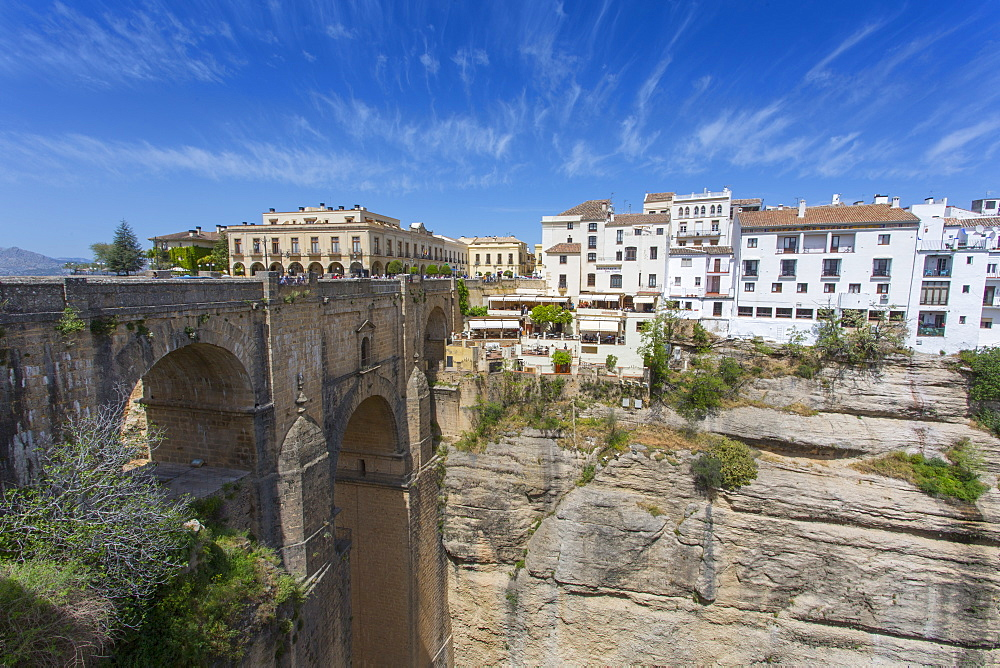 View of Ronda and Puente Nuevo, Ronda, Andelusia, Spain, Europe - 844-12739