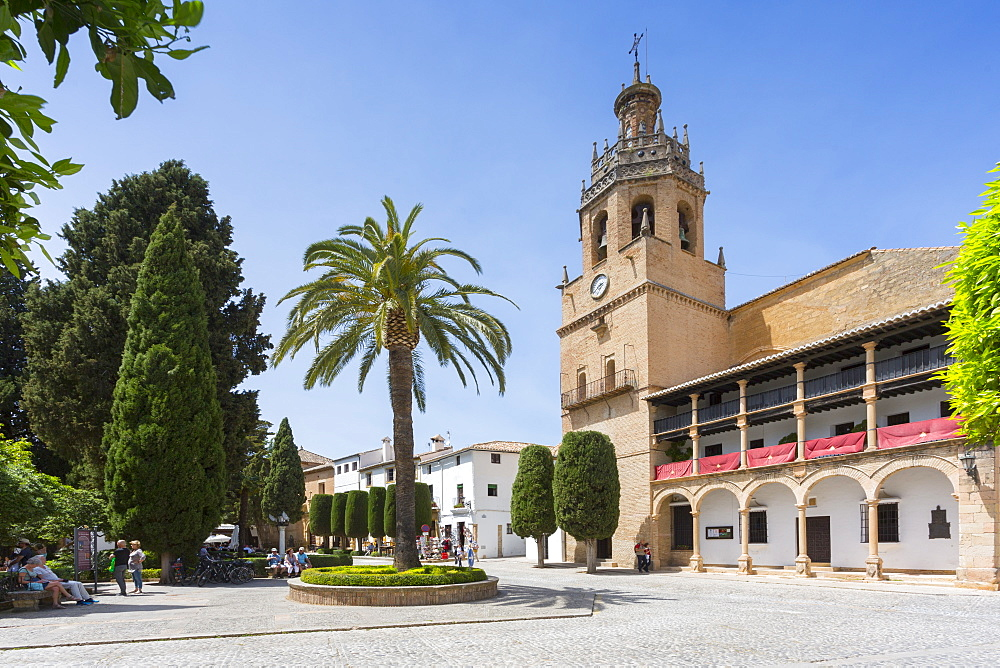 View of Parroquia Santa Maria la Mayor in Plaza Duquesa de Parcent, Ronda, Andalusia, Spain, Europe