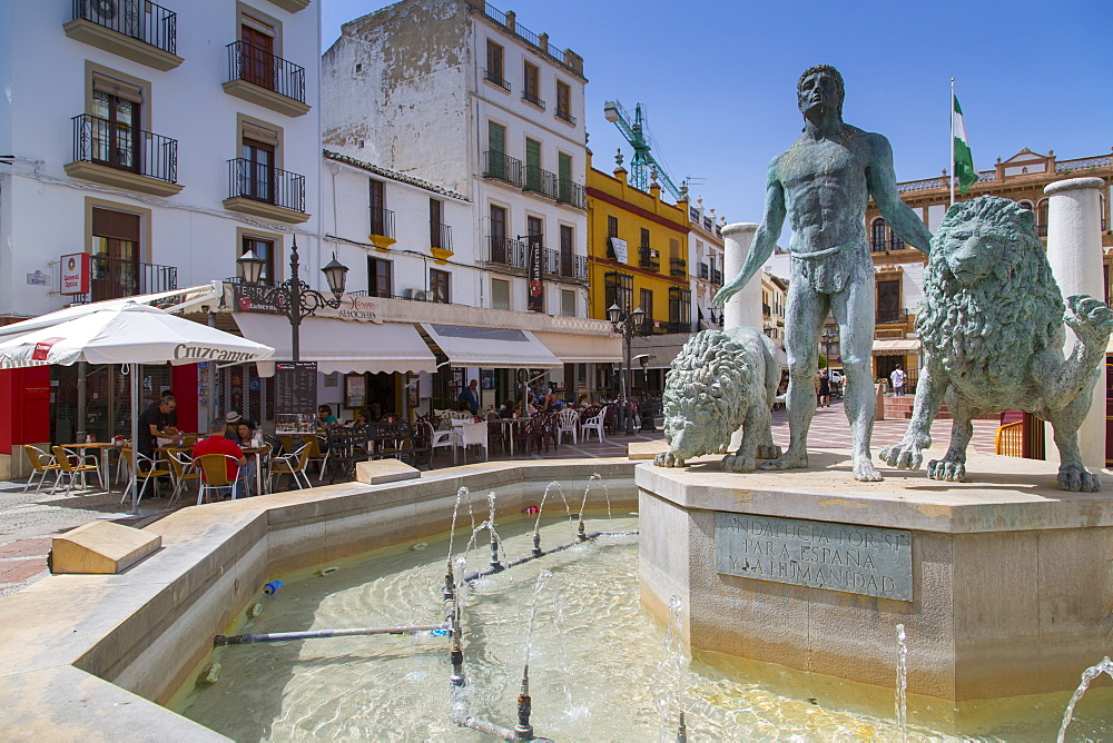 Fountain and restaurants, Plaza del Socorro, Ronda, Andalusia, Spain, Europe - 844-12748