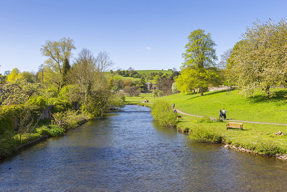 The River Wye in Bakewell in Springtime, Derbyshire Dales, Derbyshire, England, UK, Europe - 844-12755