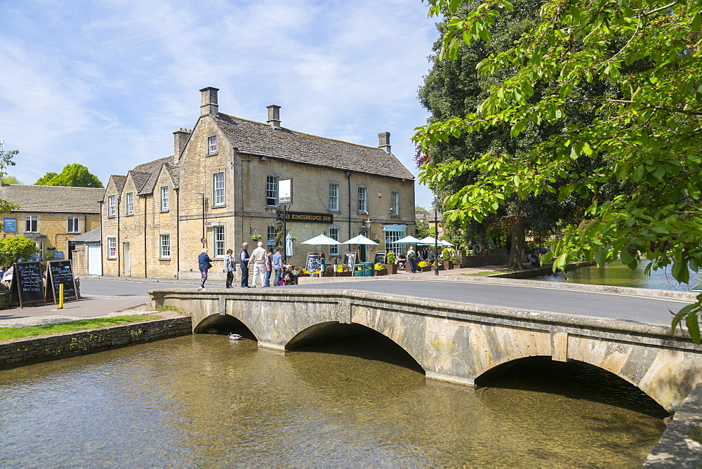 Old bridge over River Windrush, Bourton on the water, Cotswolds, Gloucestershire, England, UK, Europe - 844-12763