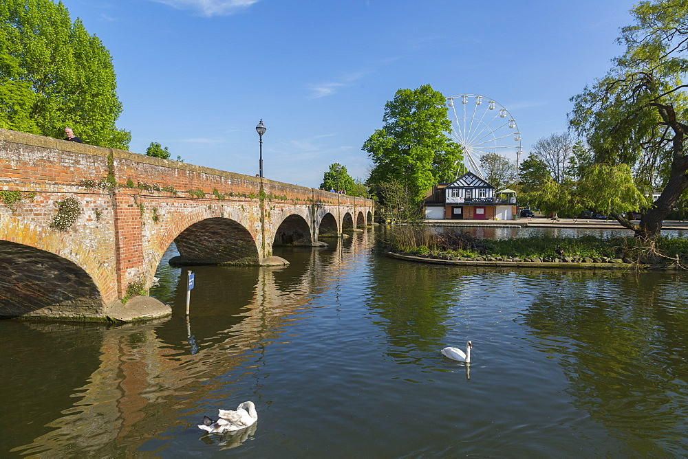 Footbridge over River Avon and ferris wheel, Stratford Upon Avon, Warwickshire, England, UK, Europe - 844-12772
