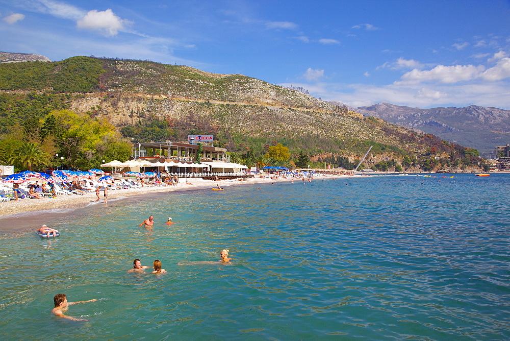 View of Slovenka Plaza Beach, Budva, Montenegro, Europe