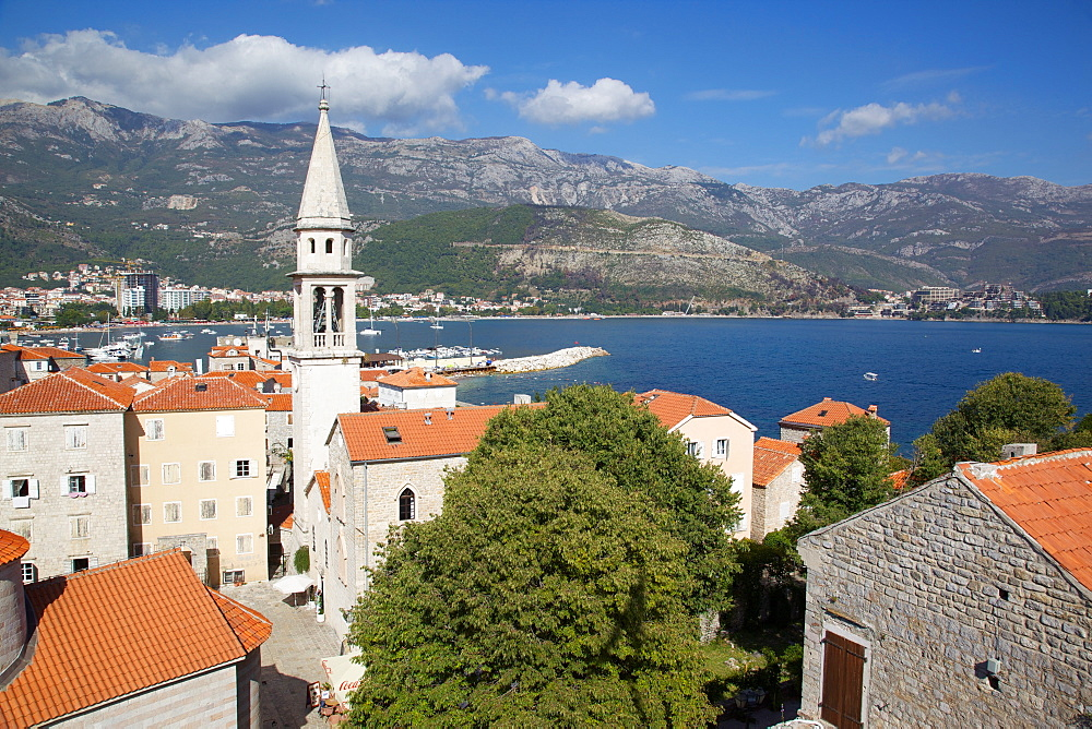 The Old Town and church, Budva, Montenegro, Europe