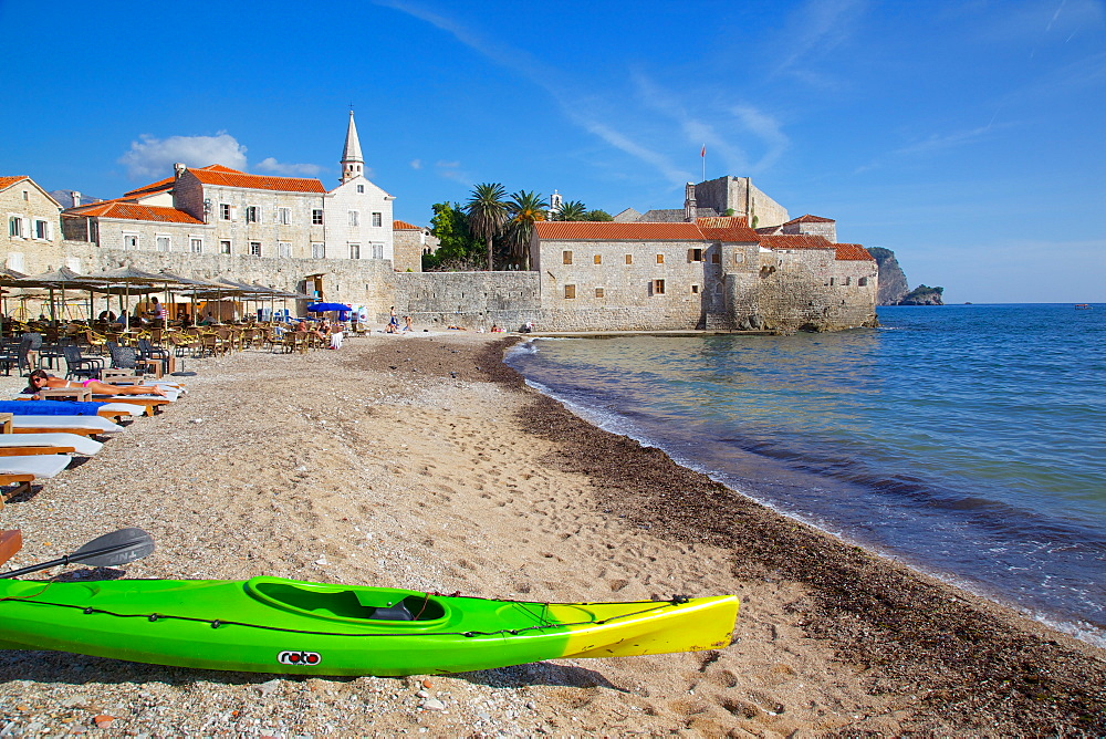 View of Old Town and beach, Budva, Montenegro, Europe