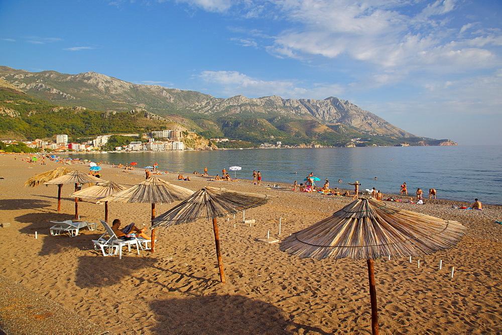 Beach and sunshades, Becici, Budva Bay, Montenegro, Europe