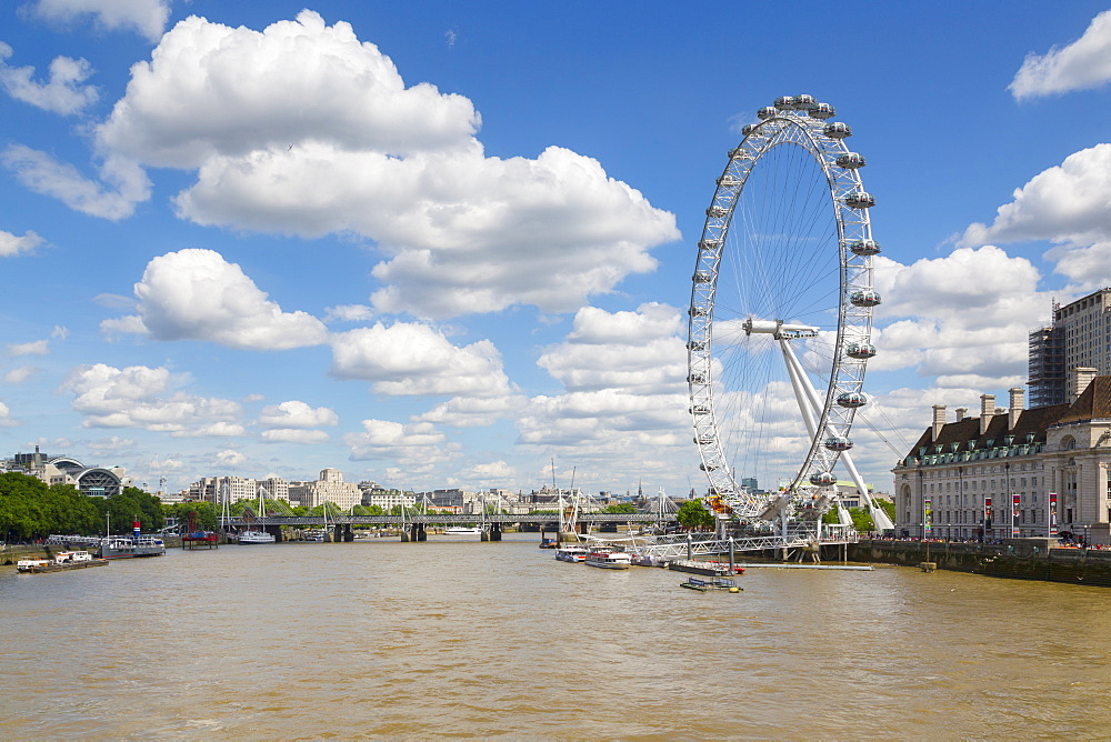 View of London Eye and River Thames from Westminster Bridge, Westminster, London, England, United Kingdom, Europe