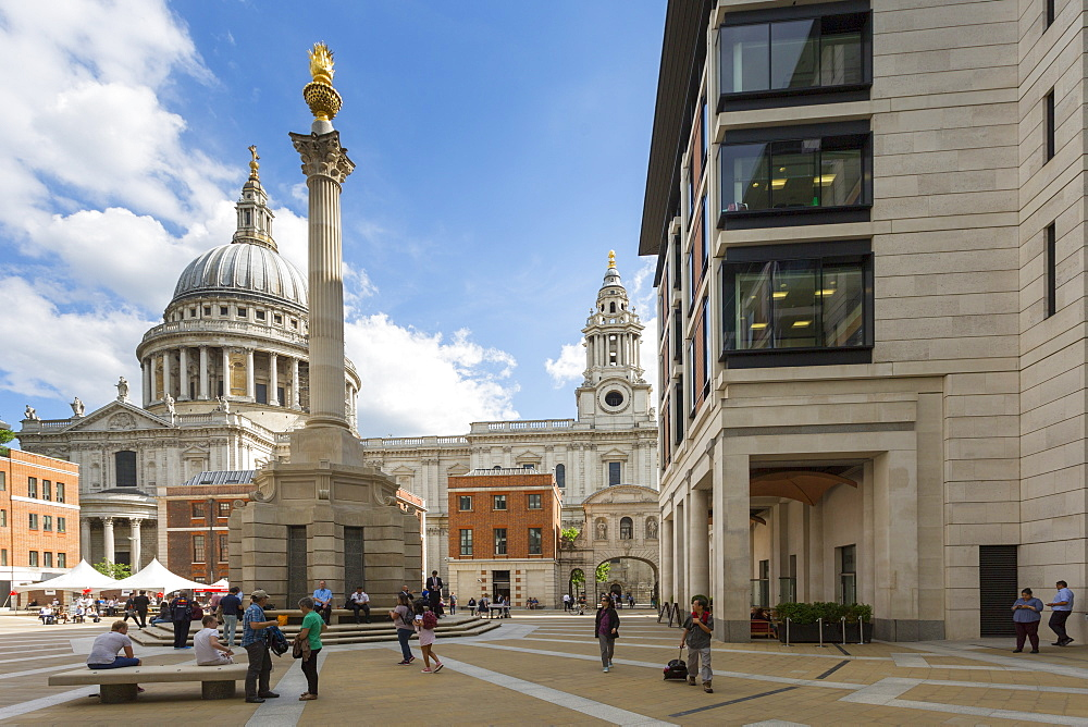 View of St. Paul's Cathedral and Paternoster Square, City of London, London, England, United Kingdom, Europe