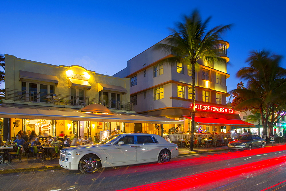 Ocean Drive and Art Deco architecture at dusk, South Beach, Miami Beach, Miami, Florida, United States of America, North America