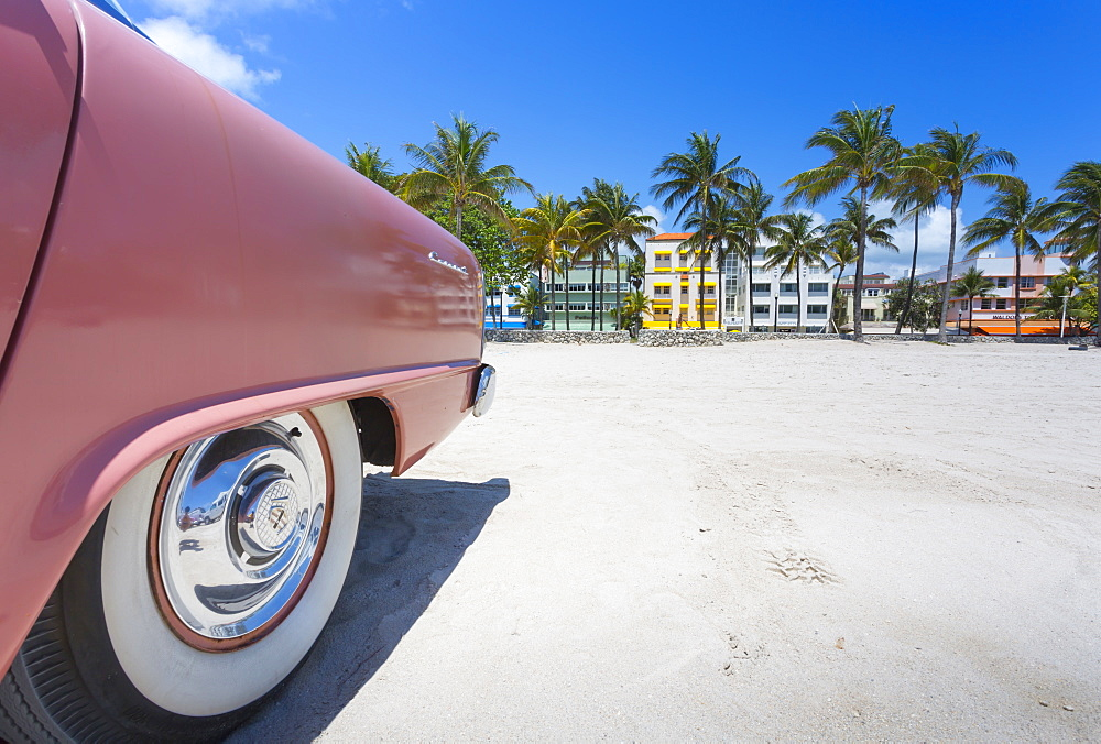 Classic car on Ocean Drive and Art Deco architecture, Miami Beach, Miami, Florida, United States of America, North America