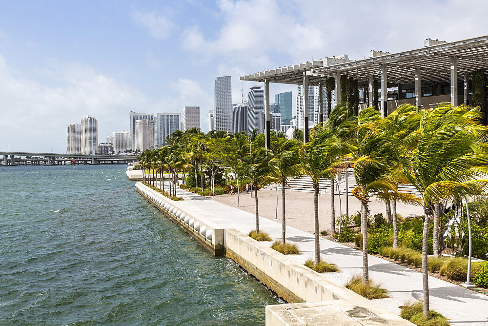 View of Downtown & Perez Art Museum from Mac Arthur Causeway, Miami Beach, Miami, Florida, United States of America, North America