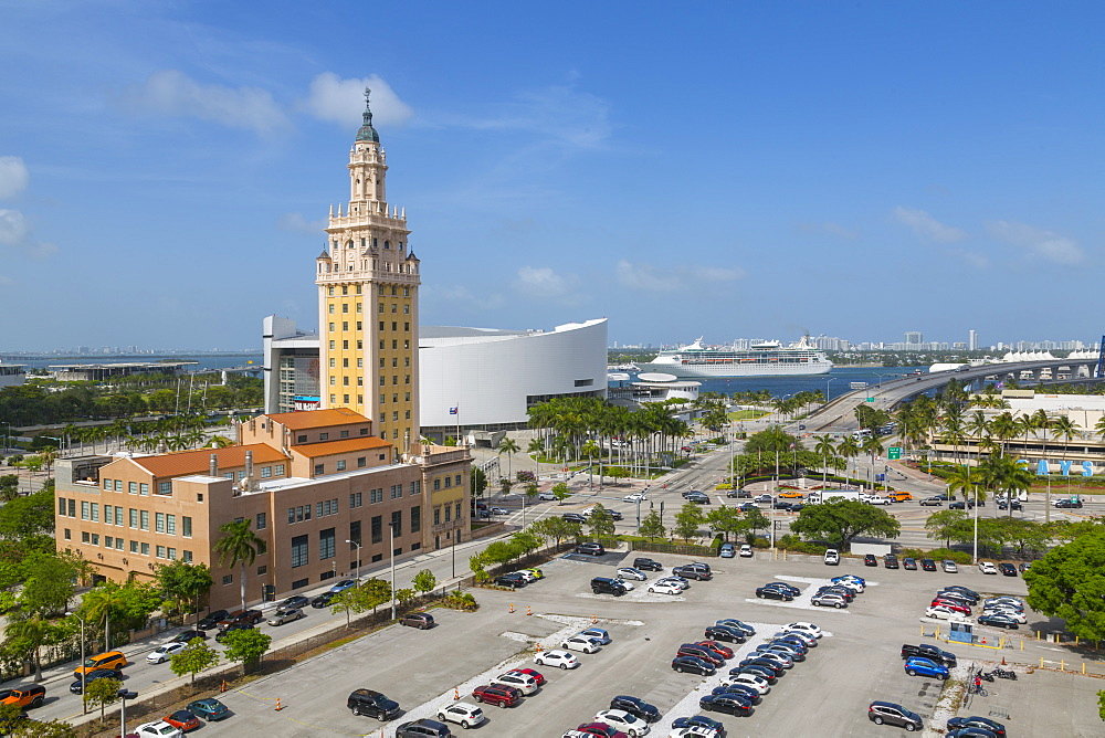 The Freedom Tower & American Airlines Arena in Downtown Miami, Miami, Florida, United States of America, North America