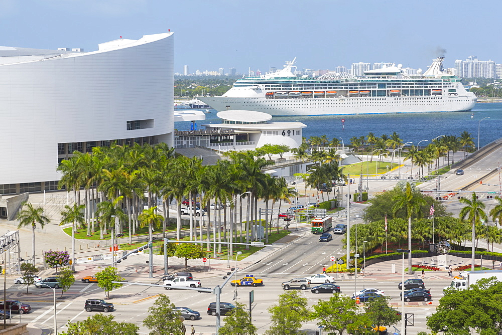 American Airlines Arena in Downtown Miami and cruise ship in Port of Miami, Miami, Florida, United States of America, North America