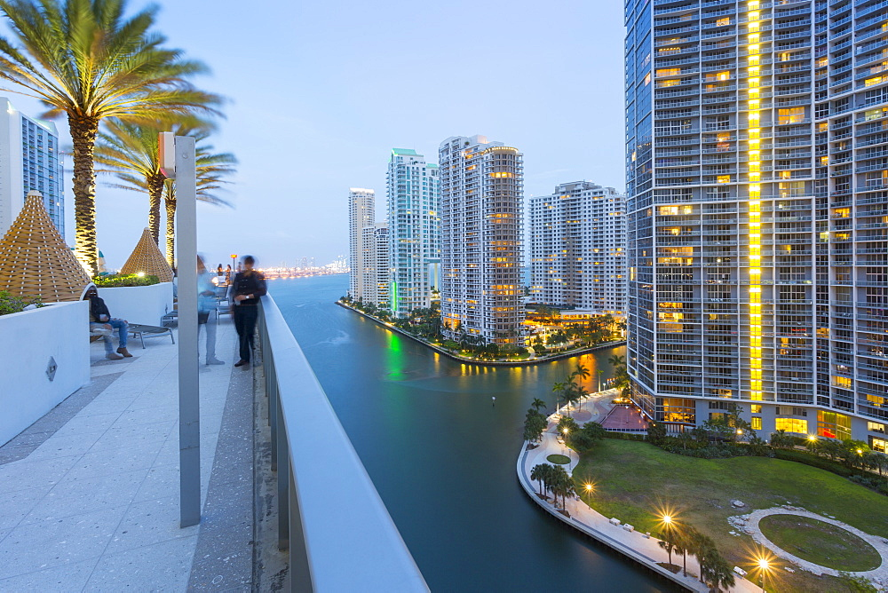 Rooftop bar overlooking Miami River at dusk, Miami, Florida, United States of America, North America